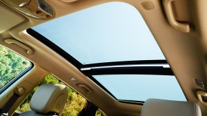 The giant dual panoramic sunroof lets a lot of light into the Santa Fe.