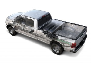 This cutaway shows the Ram's engine and CNG fuel system, complete with tanks behind the Crew Cab, in the bed.