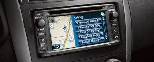 The radio/navigation touch-screen is small and buttons are hard to use while driving.