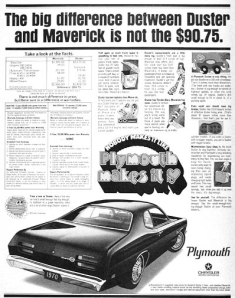 Savageonwheels.com, promotional model cars,Plymouth Duster