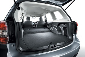 With the rear seats down the Subie offers oodles of cargo space.