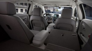 Rear seats fold down to increase cargo space in the hatchback Volt.