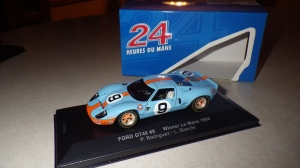 The 1968 LeMans winning Ford GT40 Mk. I in its famous Gulf livery.