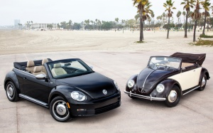 New vs. old, now tell me the new one doesn't do a terrific job of reflecting the old Beetle's personality!