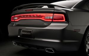 Charger's rear-end features a stylish light bar and dual exhausts.
