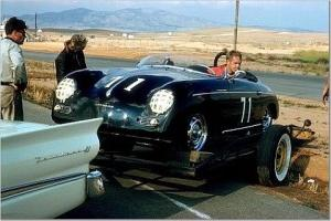 Steve McQueen backs his Speedster off a trailer. Imagine what sort of rig a celebrity would have these days!