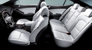 Cadenza's special two-tone black and white Nappa leather interior is sumptuous.