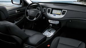 The Genesis R-Spec's interior is stylish with a silver trim line that separates the upper and lower dash.
