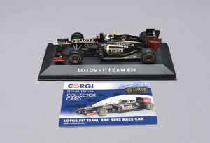 The 1:43 model also comes with a collector card.