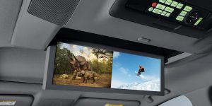 The Advance model with Entertainment Package includes a split screen for the second row so kids can watch differing DVDs.