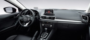Mazda has created a high-tech looking interior in its modestly priced Mazda3.