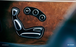 Equus has intuitive power seat controls on the door, with two memory settings.