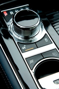 The shift knob powers down into the console when the ignition is off.