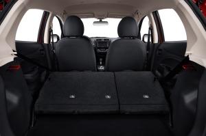 Rear seats fold down, nearly flat.