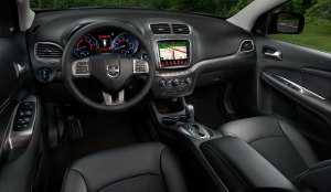 The Journey's dash is well designed and features a large navigation screen.