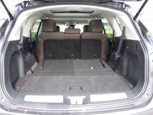 The rear seats power down and there's a lot of cargo room with them lowered.