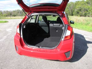 Rear seats fold into the floor to create mucho storage room in the Fit.