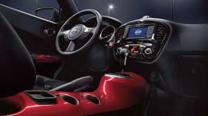Interior styling is edgy and fun. Like the red console.