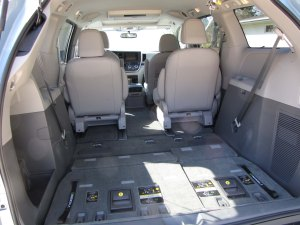 Those third row seats fold flat into the cargo well for added cargo space.