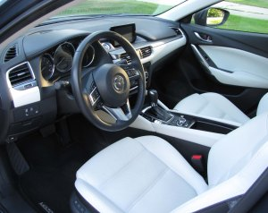 Stylish black and white leather interior and soft leather at that!