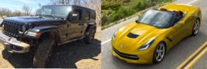 jeep wrangler, chevy corvette